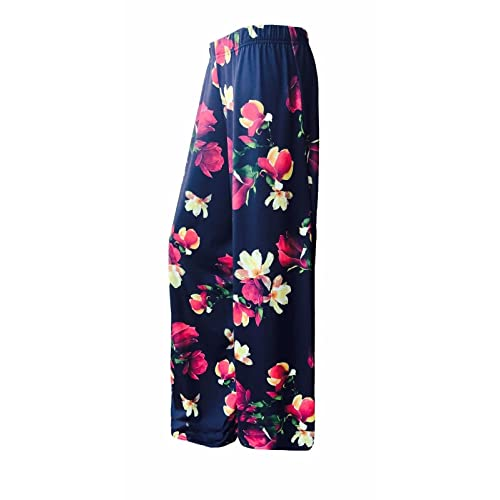 cc3ee0b3e1d53 ZET Womens Plus Size Printed Palazzo Wide Leg Flared Ladies Trousers Pants  8-26