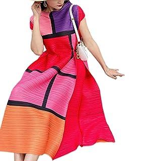 نساء بالاضافة الى حجم اللباس ضئيلة، مطوي، من قطعة واحدة، والربيع والصيف الجديدة 2021، وطبع تنورة طويلة للنساء يمكنارتداءال...