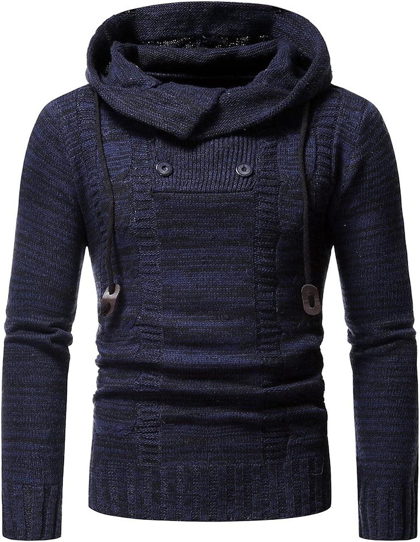 EverNight Men's Gym Sweatshirt,Long Sleeve Drawstring Hooded Knitwear,Slim Fit Warm Ribbed Pullover Hoodies
