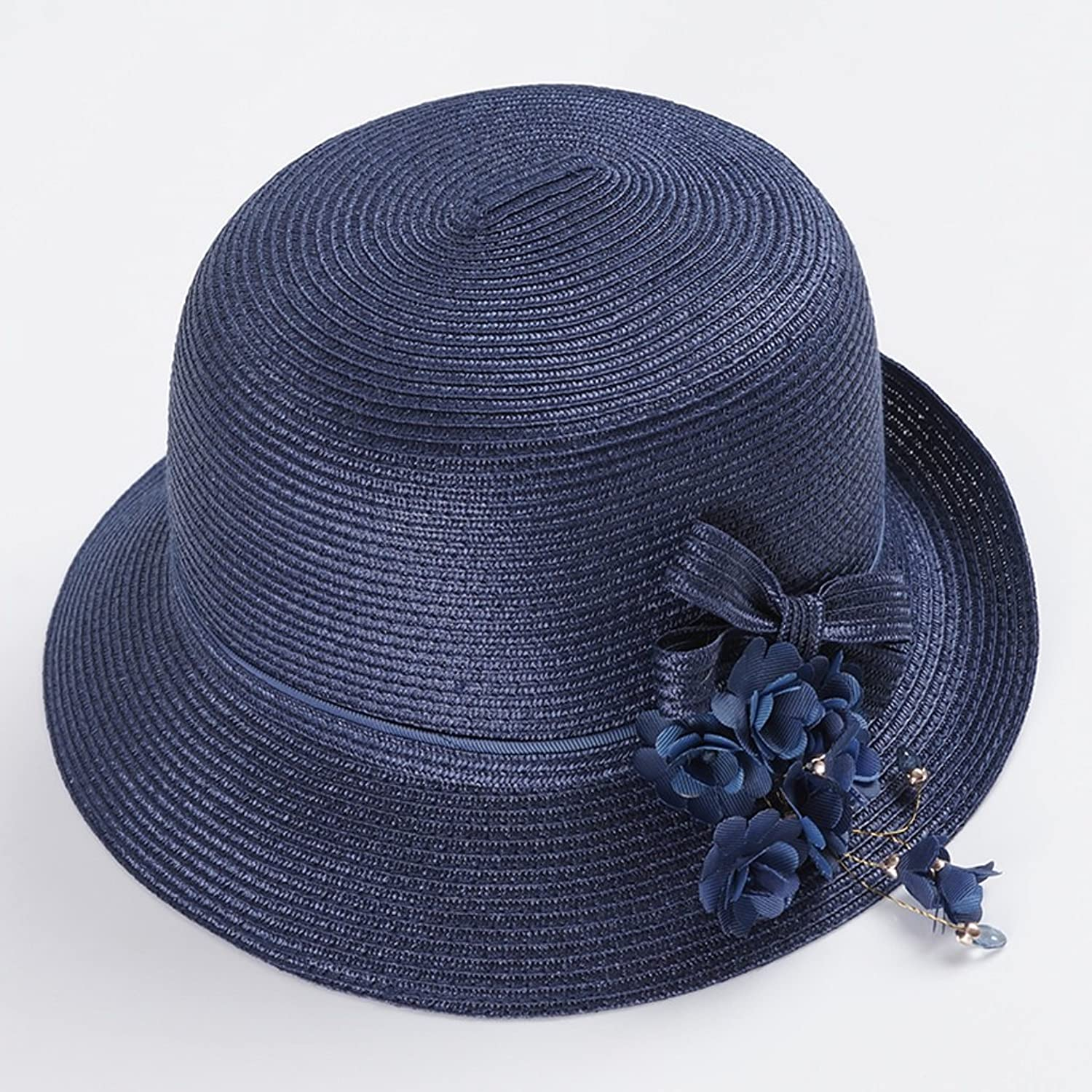 LIZHIQIANG Spring and Summer Female Visor Fashion Wild Sun Predection Sunhat AntiUV Travel Straw Hat (color   Dark bluee)
