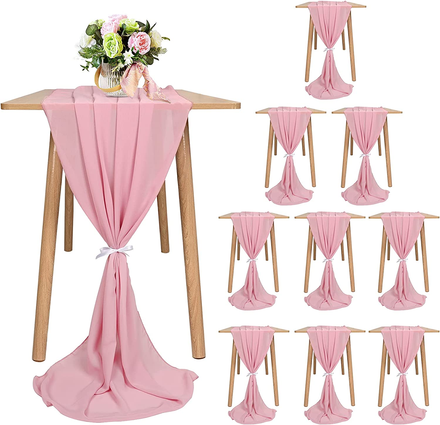 10 Pack New arrival Chiffon Table Runner 10Ft-28x120 Romantic Inches Wedding Sales of SALE items from new works
