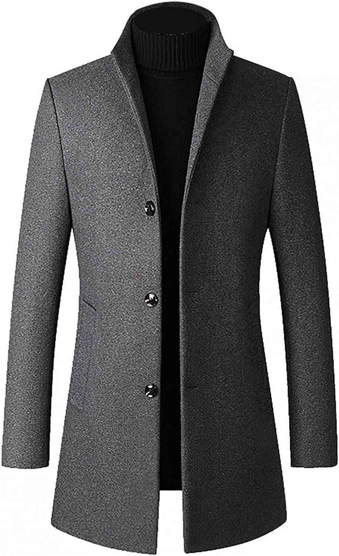 WUAI-Men Woolen Trench Coat Double Breasted Slim Fit Winter Warm Overcoat Long Gentlemen Blazer Business Pea Jacket