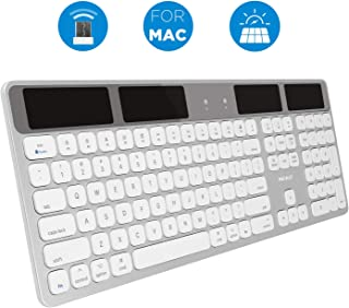 Macally Wireless Solar Keyboard for Mac Mini/Pro, iMac Desktop Computers & Apple MacBook Pro/Air Laptops - 2.4 GHz RF USB Dongle - Caps Lock/Battery Indicators - Silver Aluminum, Gray