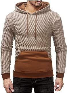 Energy Men's Pullover Color Block Plaid Big Pocket Hood Pullover Sweatshirts