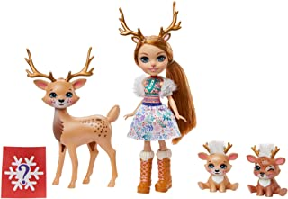 ENCHANTIMALS GNP17 - Enchantimals familie speelgoedset, Rainey Rendier pop (15 cm) met 3 dierenfiguren