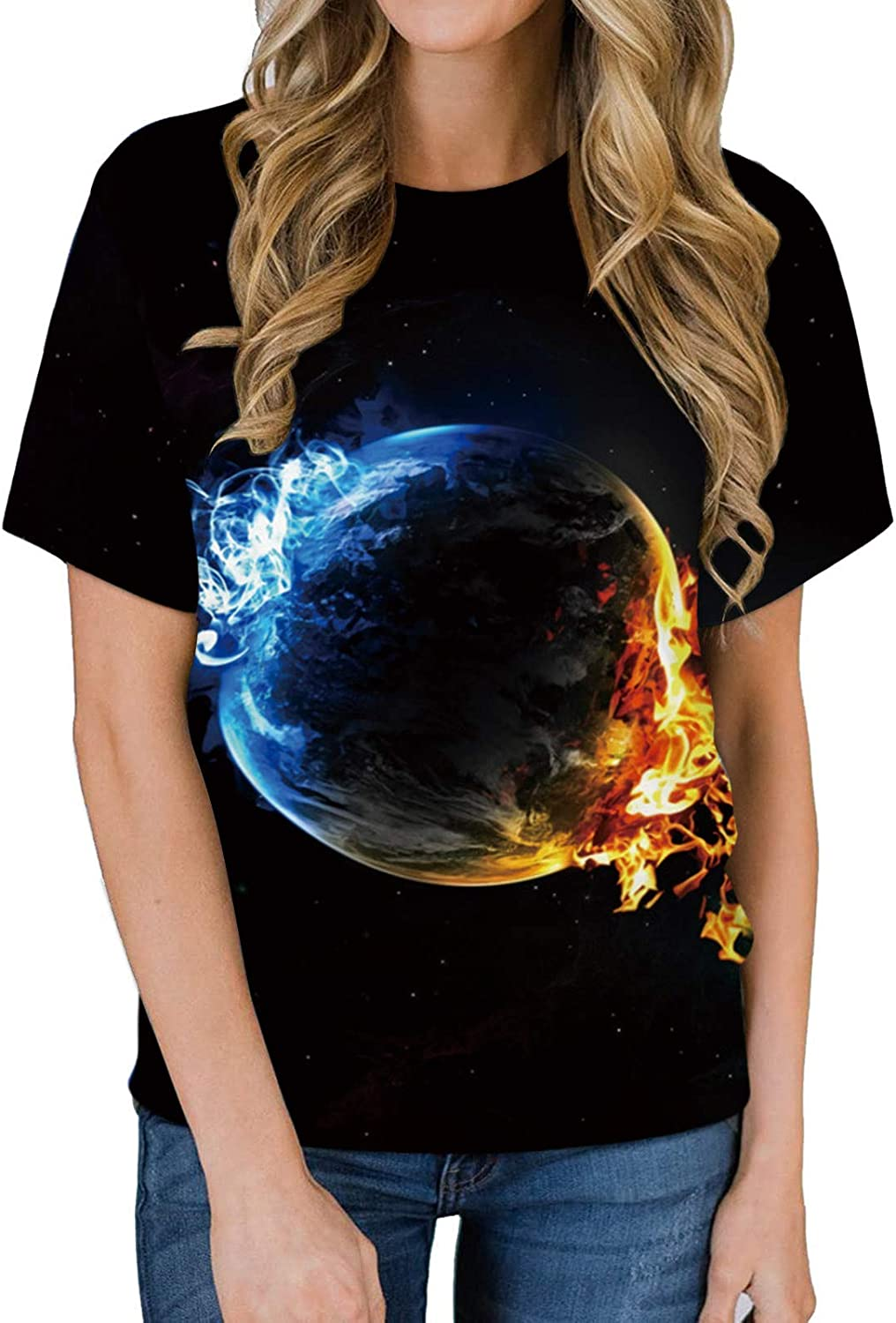 3D Graphic Colorful T-Shirts for Men Short Sleeve Crewneck Printed Fire and Ice T-Shirt Funny Summer Shirt Tops