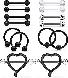 7 Pairs 14G 316L Stainless Steel Heart Nipple Shield Ring & Nipple Barbell Bar Retainer & Nipplerings Hoop Rings Piercing Jewelry for Women Men 14mm(9/16 inch)