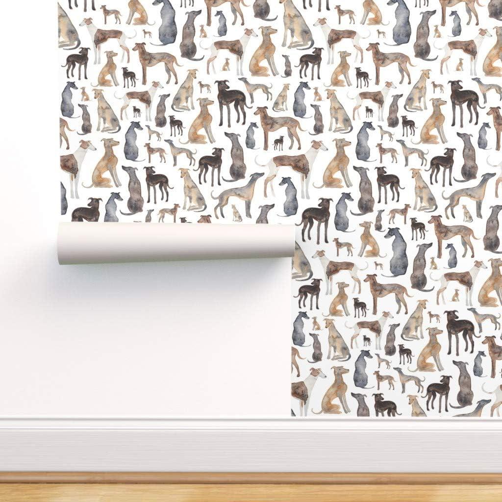 Spoonflower Peel and Stick スーパーセール期間限定 Wallpaper Greyhound Waterc Removable 春の新作