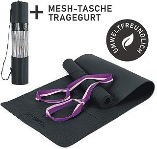 TOMSHOO Esterilla de Gimnasia Basic + Correa - Esterilla de Yoga Antideslizante - Esterilla de Entrenamiento TPE - 183 x 61 x 0,6 cm - hipoalergénica - Esterilla de Fitness sin ftalatos
