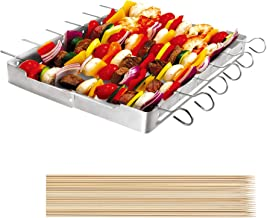 """Unicook Heavy Duty Stainless Steel Barbecue Skewer Shish Kabob Set, 6pcs 13"""" L Skewer and Foldable Grill Rack Set, Durable and Reusable, Bonus of 50pcs 12.5"""" L Bamboo Skewers for Party and Cookout"""