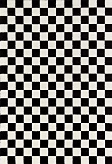 Persian-Rugs 8x10 1909 Checkered Black and White 8 x 10 Area Rug