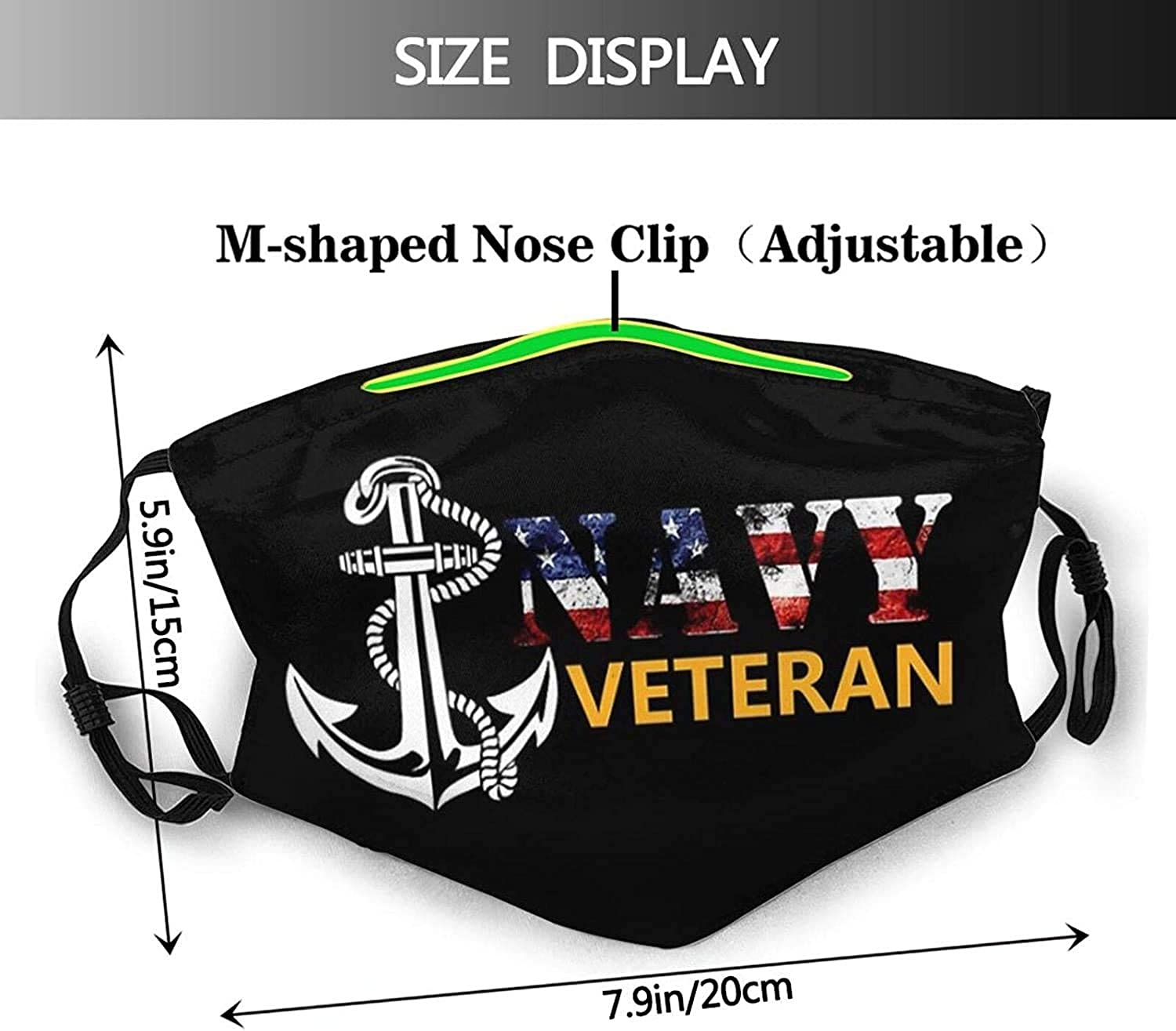 Us Navy Veteran Face Mask Bandanas Balaclava, Washable Reusable with 2 Filters, for Adult Man & Women
