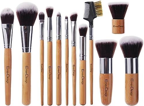 EmaxDesign 12 Pieces Makeup Brush Set Professional Bamboo Handle Premium Synthetic Kabuki Foundation Blending Blush C...