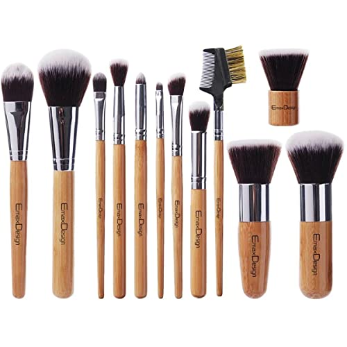 d9e9b94c42365 EmaxDesign 12 Pieces Makeup Brush Set Professional Bamboo Handle Premium  Synthetic Kabuki Foundation Blending Blush Concealer