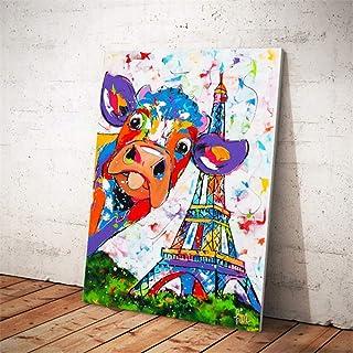 RTCKF Aquarelle Abstraite Vache Affiche de la Tour Eiffel et Impression Mur Art Toile Peinture Peinture Murale Photo décor...