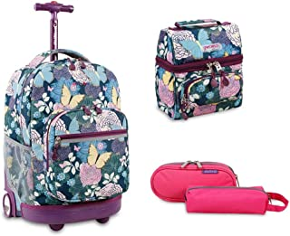 Sunrise Rolling Backpack Back To School Set w/Pencil Case & Lunch Bag