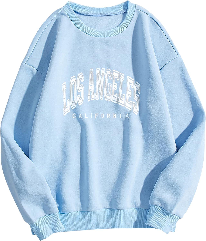 SAFRISIOR Women Oversized Los Angeles California Letter Print Graphic Fleece Sweatshirt Crewneck Long Sleeve Pullover Top