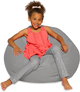 Big Comfy Bean Bag Chair: Posh Large Beanbag Chairs with Removable Cover for Kids, Teens and Adults - Polyester Cloth Puff Sack Lounger Furniture for All Ages - 27 Inch - Solid Gray