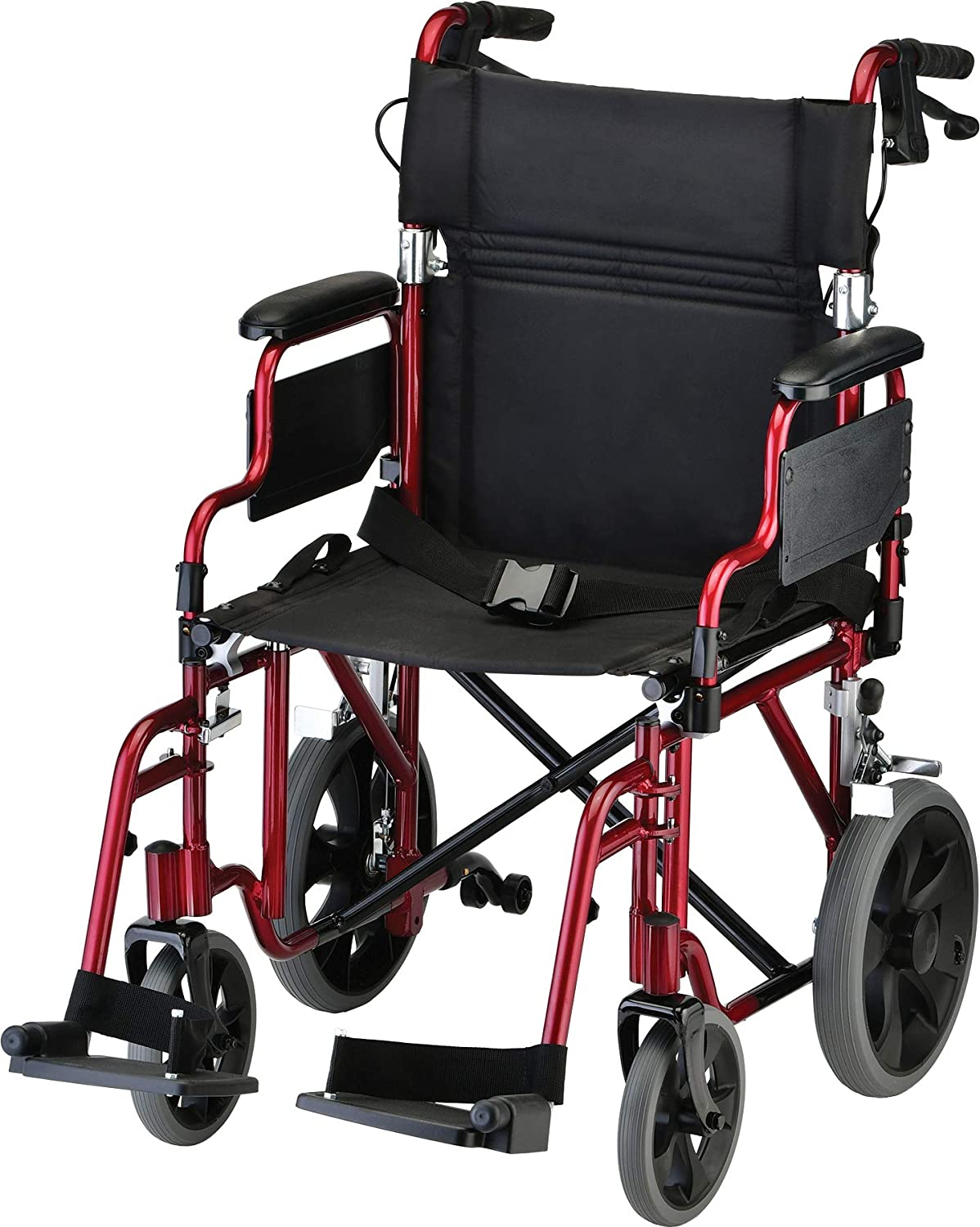 """NOVA Lightweight Transport Chair with Locking Hand Brakes, 12"""" Rear Wheels, Removable & Flip Up Arms for Easy Transfer, Anti-Tippers Included, Red: Amazon.in: Health & Personal Care"""