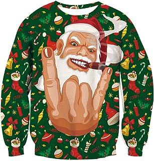 Navidad Jumper, Unisex Hombre para Sudadera Feo Divertido 3D Impreso Navidad gráfico suéter suéter Santa Sudaderas S-XXL