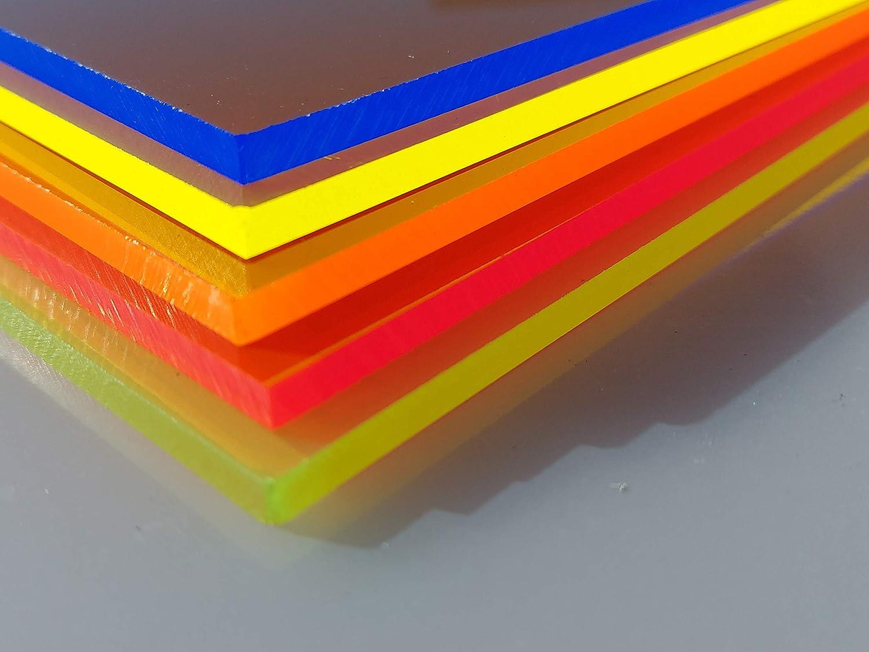 in-outdoorshop Plexiglas/® Zuschnitt Acrylglas Platte fluoreszierend 300mm x 600mm x 3mm, orange fluoreszierend