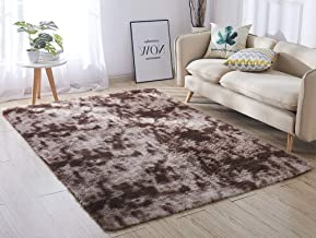 ACTCUT Super Soft Indoor Modern Shag Area Silky Smooth Rugs Fluffy Anti-Skid Shaggy Area Rug Dining Living Room Carpet Comfy Bedroom Floor 4- Feet by 5- Feet (Coffee &)