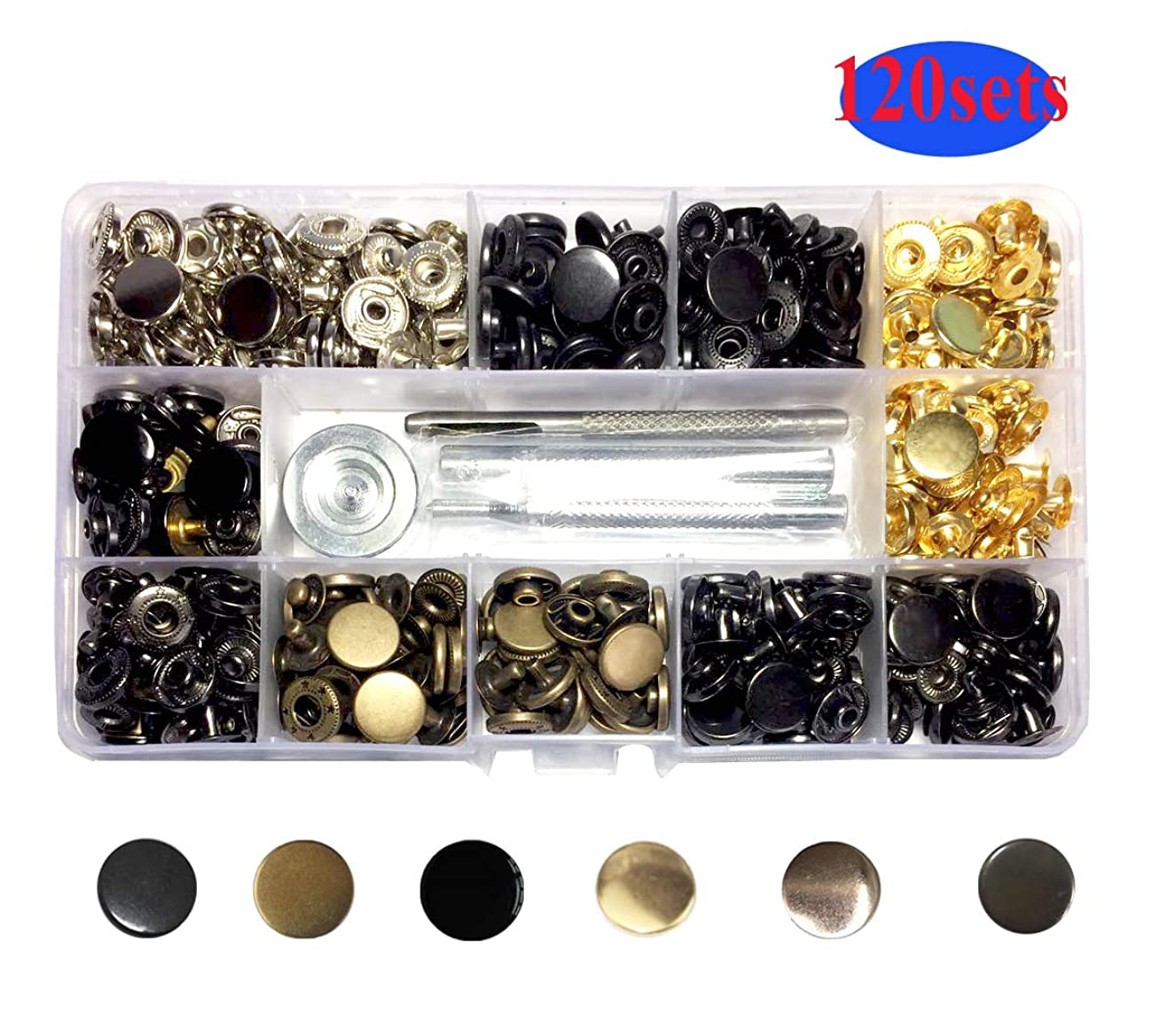 120 Sets Snap Fasteners Kit,6 Color Clothing Snaps Kit ,12.5mm Metal Snap Buttons Press Studs with 4 Pieces Fixing Tools for Pillows case,Thin Leather, Jacket, Jeans Wear, Bracelet, Bags