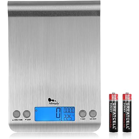 himaly Balance Cuisine numérique,Balance de Précision pour Cuisine,Fonction Tare et Minuterie,en Acier Inoxydable,Tactile Sensible Écran LCD,Auto-arrêt Couleur Argent(2 batteries incluses)