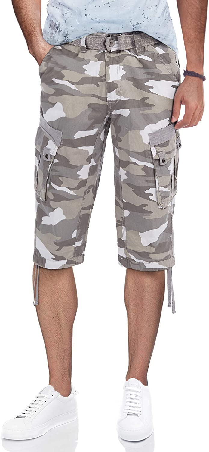 X RAY Men's Belted Tactical Cargo Long Shorts 18