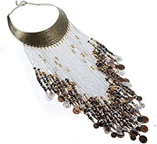 Jerollin Vintage Jewelry Statement Bib Necklace Resin Seed Beads Tassels Tribal Necklace African Long Fringe Necklace for Women&Girls