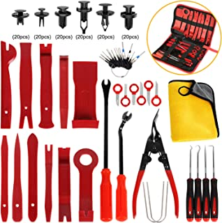 AUTMOR 38Pcs Trim Removal Tool & 120 Pcs Car Retainer Clips, Pry Kit, Car Panel Tool Stereo Removal Tool Kit, Auto Clip Pliers Fastener Remover Pry Tool Kit, Car Upholstery Repair Kit with Storage Bag