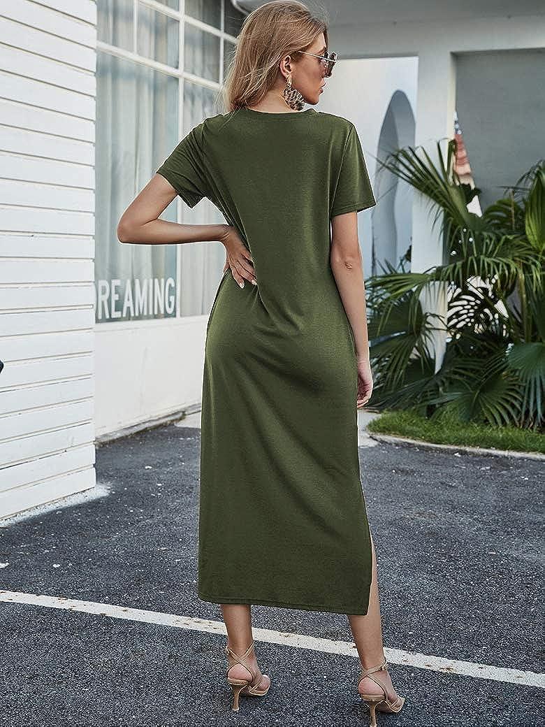 Naggoo Women's Short Sleeve Split Maxi Dress Casual Plain Tie Dye Print Tshirt Long Dresses with Pockets