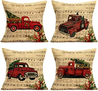 Asminifor Set of 4 Vintage Christmas Musical Notation Background Cotton Linen Merry Christmas Red Truck Car with Xmas Tree Mistletoe Decorative Throw Pillow Cases Home Sofa Cushion Cover 18