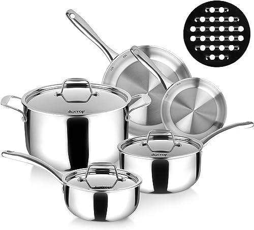 new arrival Duxtop Whole-Clad Tri-Ply Stainless Steel Induction Cookware Set, 9PC Kitchen sale wholesale Pots and Pans Set outlet sale