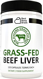 Beef Liver Capsules by Best Bone Broth (120 Capsules Per Bottle) - Freeze Dried Pure Formula Beef Liver Supplements - Expe...