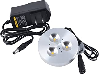ABI 3W LED Puck Light Kit with Adapter for Under Cabinet, Bookshelf, and Showcase Lighting, 240lm, Warm White 2800K, 25W Halogen Equivalent