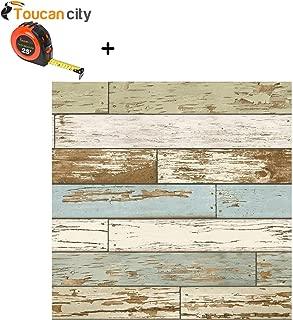Toucan City Tape Measure and NuWallpaper Multi Color Old Salem Vintage Wood Peel and Stick Wallpaper NU2188