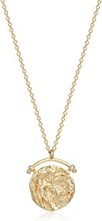 WEARON Coin Necklace 18k Gold Plated Vintage Medallion Round Queen Pendant Round Circle Disk Dainty Necklace for Women