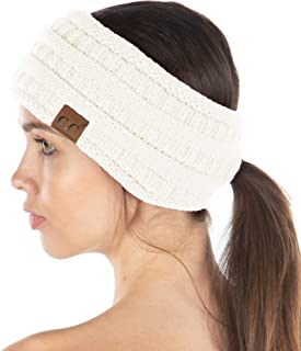 Funky Junque Exclusives Womens Head Wrap Ponytail Headband Lined Knit Messy Bun
