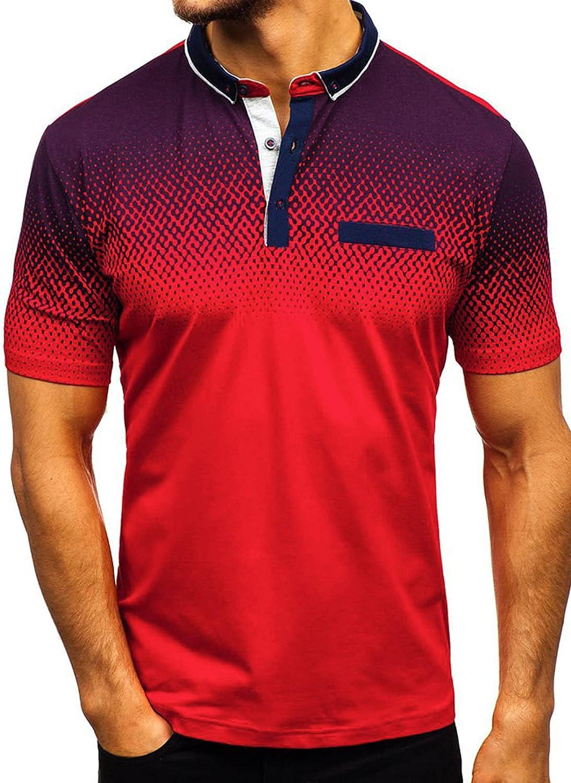 Biucly Mens Summer Casual Short Sleeve Polo Shirts