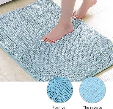 Cabilock - Juego de 2 alfombras de baño de chenilla para baño en forma de U, para bañera de hidromasaje, barra de cocina, 2 u