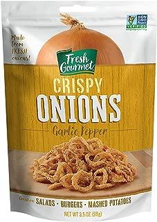 Fresh Gourmet Crispy Onions, Garlic Pepper, 3.5 Ounce (Pack of 6)