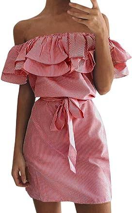 e91ed064451 Gyoume Women Plus Size Holiday Off Shoulder Bardot Mini Dress Ladies Beach  Sundress with Belt