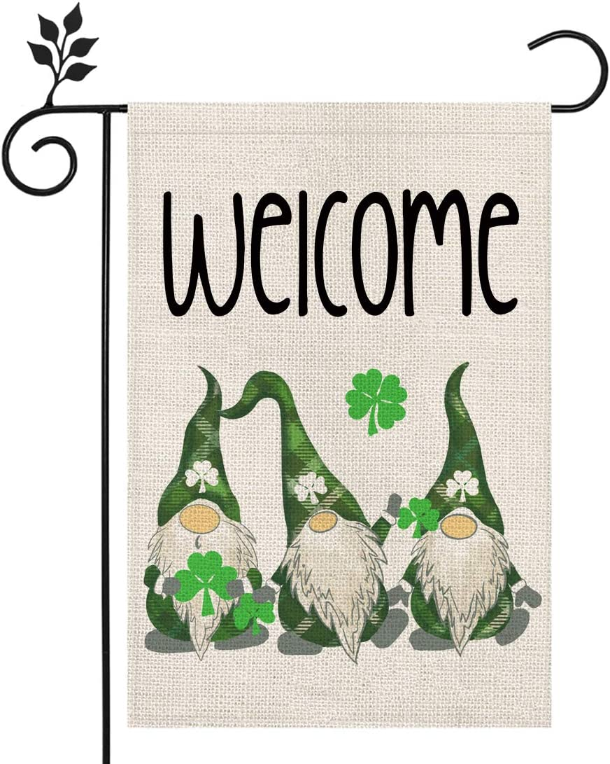 CROWNED BEAUTY St Patricks Day Garden Flag 12×18 Inch Welcome Gnomes Shamrock Welcome Small Vertical Double Sided Green Parade Holiday Outside Décor for Yard Farmhouse CF052-12