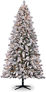 Darice 30038301 7.5' Flocked Vermont Pine Artificial Christmas Tree, Pre-Lit, Clear Lights, 90