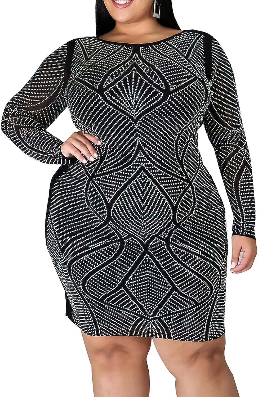 Ranfare Women's Sexy 無料 Plus Size Dresses Midi Dress Bodycon Club 10%OFF X