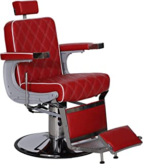 BarberPub Heavy Duty Metal Vintage Barber Chair All Purpose Hydraulic Recline Salon Beauty Spa Styling Equipment 3825 (Red)