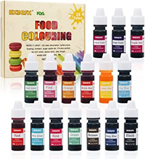 Food Coloring - 16 Color Rainbow Fondant Cake Food Coloring Set for Baking,Decorating,Icing and Cooking - neon Liquid Food...