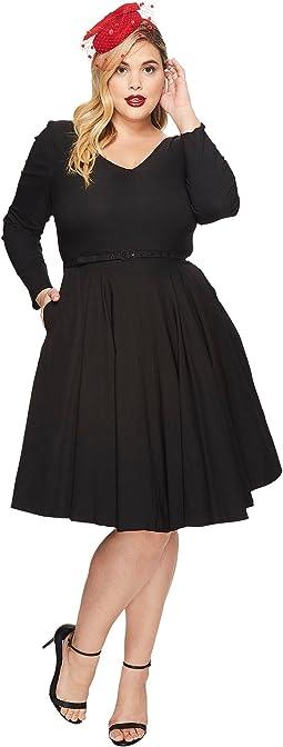 Unique Vintage - Plus Size Long Sleeve Maude Swing Dress