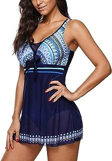 Womens Bathing Suits One Piece Slimming Swimdress Retro Plus Size Swimwear Long Torso Tankini Swimsuits for Women